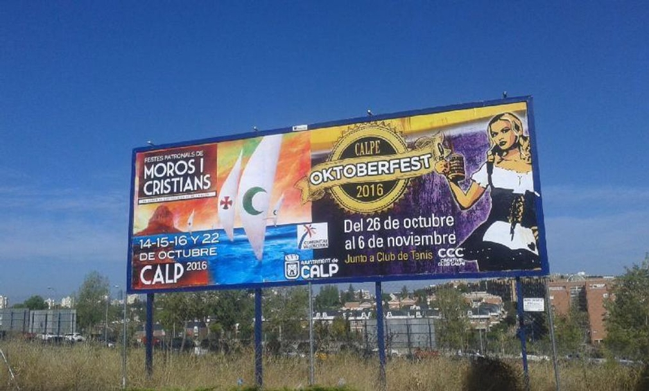 The Department Of Tourism Promotes The Moros y Cristianos' Fiestas And The Oktoberfest In Billboards And Street Advertising Boards All Around Spain