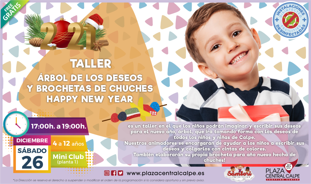 Taller árbol de los deseos y brochetas de chuches Happy New Year